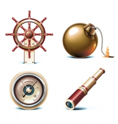 marine travel icons vector image vector image