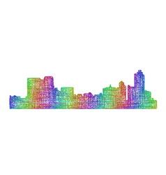 Memphis skyline silhouette - multicolor line art vector image