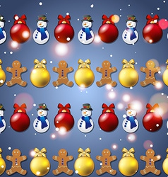 New year pattern with Christmas tree toys vector image