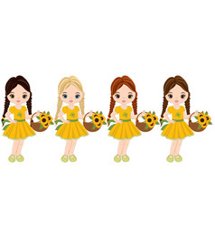 cute little girls with baskets of flowers vector image vector image