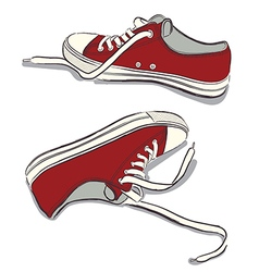 Red sneakers vector image