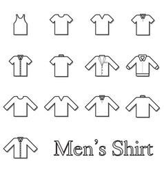 set of men shirt line icon vector image