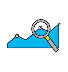 statistics graphic with magnifying glass vector image
