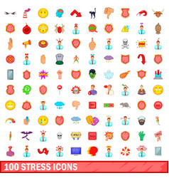 100 stress icons set cartoon style vector image
