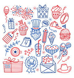 4 july usa independence day icons isolated vector image