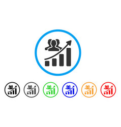 Audience growth chart rounded icon vector