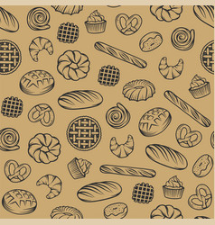bakery seamless pattern with engraved elements vector image