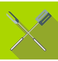 Barbeque fork and spatula icon flat style vector image