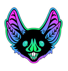 bat head on bright gradient background vector image