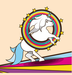 Beautiful cute unicorn running over colorful vector
