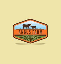 Black angus logo design farm badge logo design vector