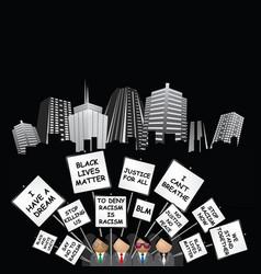 black lives matter demonstration on generic citysc vector image