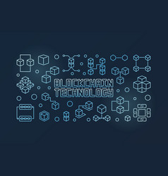 blockchain technology blue line horizontal vector image