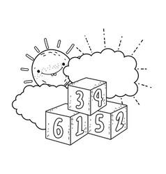 blocks numbers toys with sun kawaii vector image