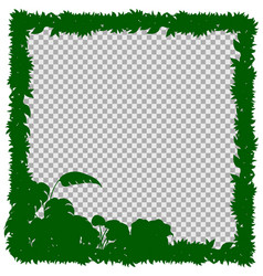 Border template with green grass and leaves vector