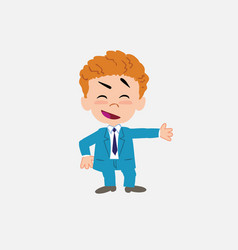 Businessman showing something in an optimistic vector