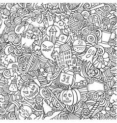 Cartoon cute doodles hand drawn halloween seamless vector