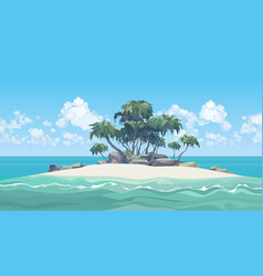 Cartoon small sandy island with palm trees and vector