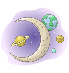 Cartoon space with moon and planets vector
