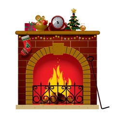 Christmas fireplace vector