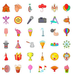colorful balloon icons set cartoon style vector image