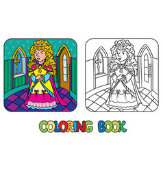 Coloring book of beauty fairy queen or princess vector