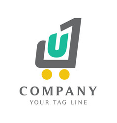 Combined logo template letters u and 1 vector