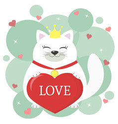 congratulations on valentine s day cute white cat vector image