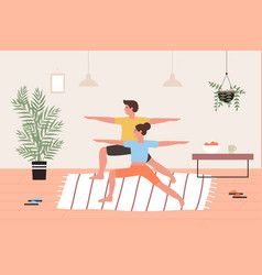 couple yoga exercise cartoon lovers friends vector image