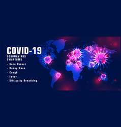 covid19-19 coronavirus symptons list with virus vector image