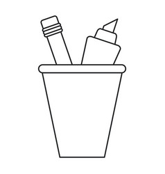 Cup pencil school utensil thin line vector