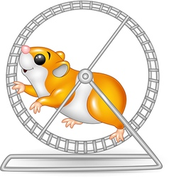 Cute hamster running in rolling wheel vector image