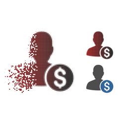 Dissolved pixel halftone investor icon vector