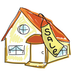 drawn colored house for sale vector image