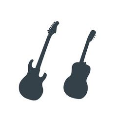 electric and acoustic guitar silhouettes on white vector image