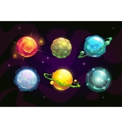 Elemental planets fantasy space set vector