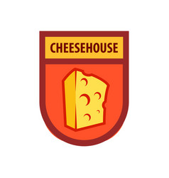 emblem for cafe or cheese store and dairy vector image