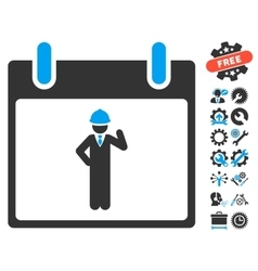 Engineer Calendar Day Icon With Bonus vector