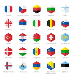 Europe Flag Icons Hexagon Flat Design vector image