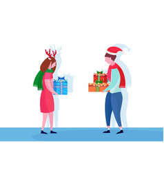 european couple giving present gift box each other vector image