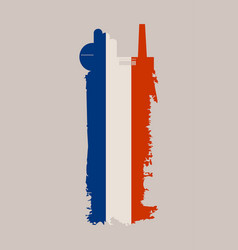 factory icon and grunge brush france flag vector image