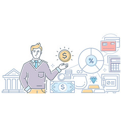 financial advisor - modern line design style vector image