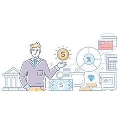 Financial advisor - modern line design style vector