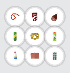 Flat icon food set of tomato beef bottle and vector