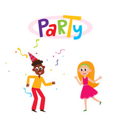 flat man and girl dancing in party hat vector image