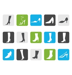 Flat shoe and boot icons vector