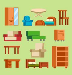 furniture icons isolated vector image