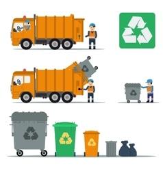 Garbage set of trucks workers and garbage bins vector