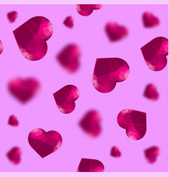 glass polygonal heart random seamless pattern vector image