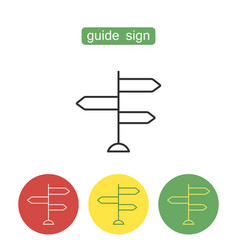 Guide sign outline icons set vector